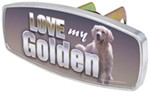 "HitchMate Love My Golden Trailer Hitch Receiver Cover - 1-1/4"" or 2"" Hitch - Aluminum"