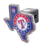 "Texas Rangers 2"" MLB Trailer Hitch Receiver Cover - Texas Shape - Zinc"