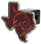 "Texas State Bobcats 2"" NCAA Trailer Hitch Receiver Cover - Texas Shape - Zinc"