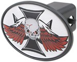 "Skull with Wings 2"" Trailer Hitch Receiver Cover"