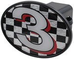 "#3 Checkered Flag 2"" Trailer Hitch Receiver Cover"