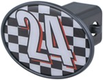 "#24 Checkered Flag 2"" Trailer Hitch Receiver Cover"