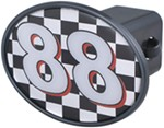"#88 Checkered Flag 2"" Trailer Hitch Receiver Cover"