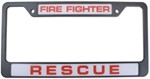 Fire Fighter Rescue License Plate Frame
