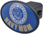 "Navy Mom 2"" Trailer Hitch Receiver Cover"