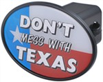 "Don't Mess with Texas 2"" Trailer Hitch Receiver Cover"