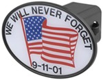 "We Will Never Forget 2"" Trailer Hitch Receiver Cover"