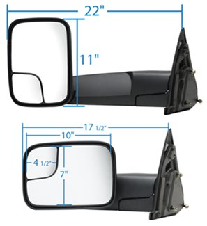 K-Source Custom Towing Mirror with Dimensions