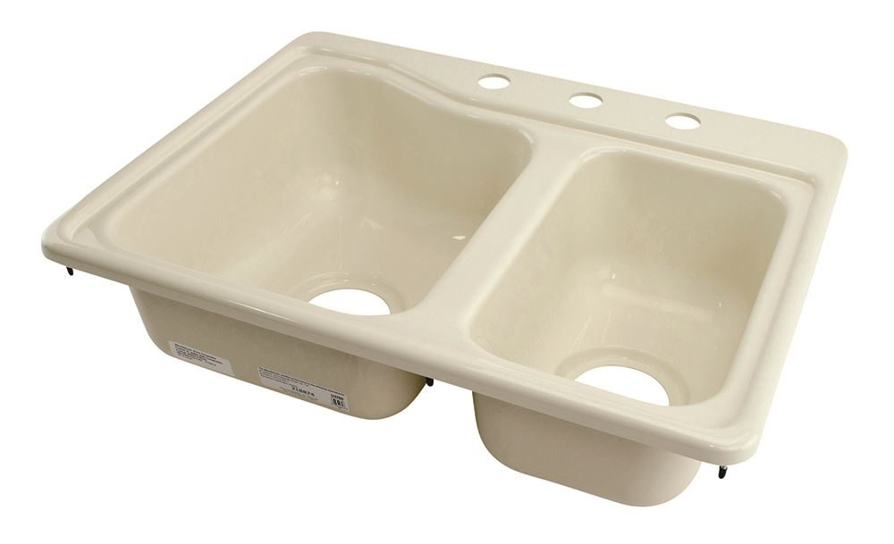 rv interior kitchen sinks double sink 25 x 19 inch parchment lippert ...