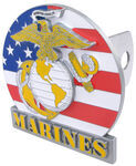 U.S. Marines with American Flag Background Trailer Hitch Receiver Cover