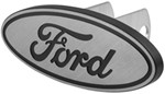 "Ford Logo Trailer Hitch Receiver Cover - 1-1/4"" and 2"" Hitches - Brushed Aluminum"