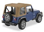 Pavement Ends Replay Soft Top Fabric for Jeep - Clear Windows - Doors Not Included - Dark Tan