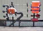 Pack'Em Rack for Open Utility Trailers - Holds 3 Trimmers, 1 Blower, 1 Line Spool, 1 Cooler