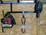 Pack'Em Rack for Enclosed Trailers - Holds 1 Blower, 1 Hedge Trimmer, 6 Shovels, 1 Spare Tire