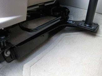 Leg room example with RAM laptop stand installed on passenger's side of vehicle