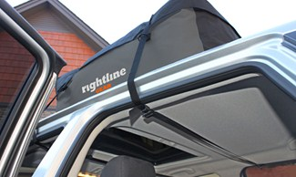 Rightline Packright Sport 1 secured to a car without a roof rack