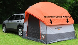 Rainfly covering windows of SUV tent