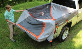 Rightline tent laying in truck bed before setup & Rightline Truck Bed Tent - Waterproof - Sleeps 2 - For 8u0027 Long ...