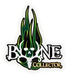 Bone Collector Flaming Skull Logo Flat Decal - Green - Qty 1