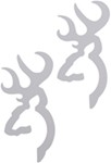 Browning Buckmark Flat Decals - White - Qty 2