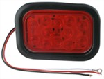 Sealed, Flush Mount Tall Rectangle LED Trailer Stop, Turn and Tail Light, Grommet and Plug, 12 Diode
