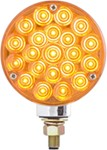 "Single-Face LED Parking/Turn Signal Light - 21 Diode - Post Mount - 4"" Round - Amber"