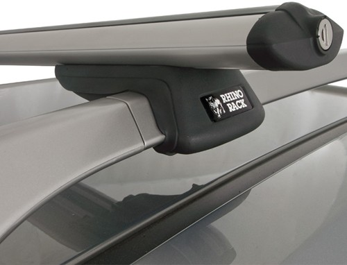 "SXB3-SILV Rhino-Rack SXB Roof Rack for Raised, Factory Side Rails - Aero Crossbars - 45"" Long - Silver"