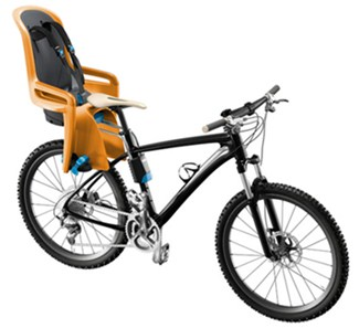 Thule Orange Bike Seat Mounted on Bike
