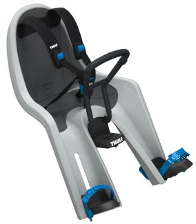 Front view of Thule RideAlong Mini bike seat showing adjustable feet