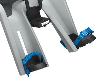 Closeup of adjustable foot rests on Thule RideAlong Mini