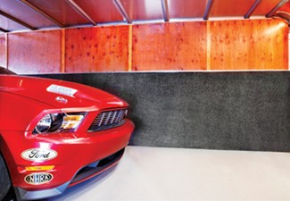 Car pulling into Enclosed Trailer with TrailerWare liner installed
