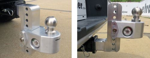 Weigh Safe ball mounts installed in drop and rise positions