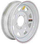 "Steel Spoke Trailer Wheel - 15"" x 5"" Rim - 5 on 5-1/2 - White Powder Coat"