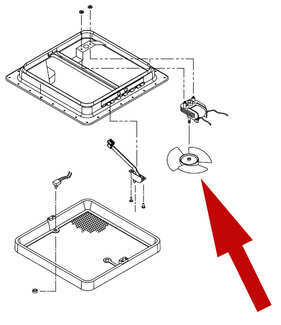diagram of location of Ventline 110V roof vent replacement fan blade