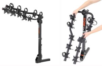 Curt premium 5-bike carrier arms fold down when not in use.
