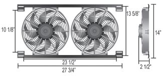 Derale 16824 Dual 12 Tornado Electric Fan Assembly with Brackets