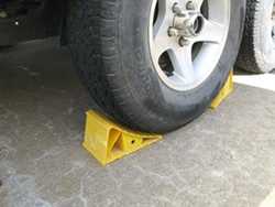 Wheel chocks in use