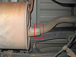 OEM tailpipe cut from the OEM muffler