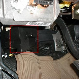 the brake control adapter plug is located in the electrical junction box on  the driver's side, left of the brake pedal