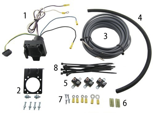 The 7-way installation kit pictured with all included parts