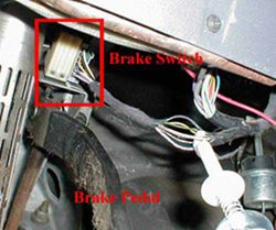 Brake switch wires located above the brake pedal