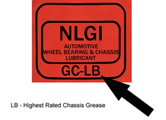 NLGI grease label showing LB