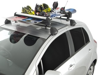 Roof Rack and Skis on Vehicle