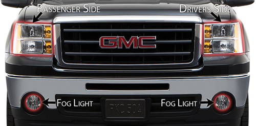 Layout of Husky Shield headlight protectors on vehicle