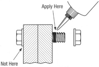 Diagram of threadlocker placement