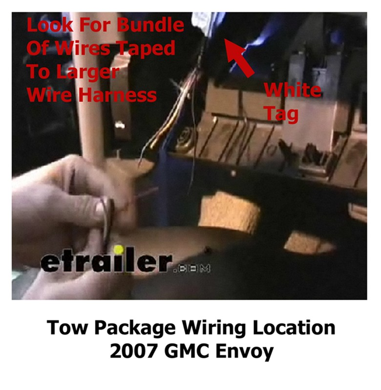 location of tow package wiring 2007 gmc envoy | etrailer.com 02 dodge 2500 tow package wiring diagram