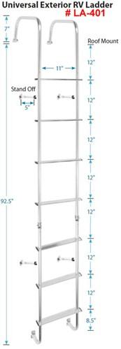 Stromberg Carlson Rv Exterior Ladder W Hinges Aluminum