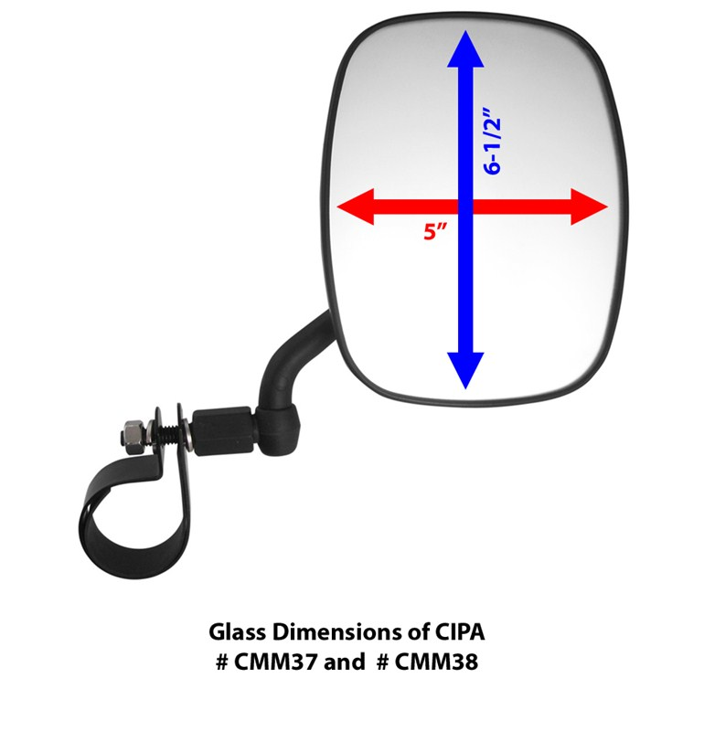 Glass dimensions of cipa adjustable side mirror cmm37 for Mirror questions