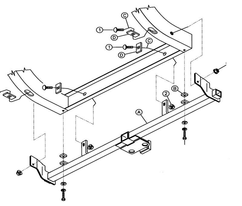 where does hidden hitch trailer hitch 87002 install on a