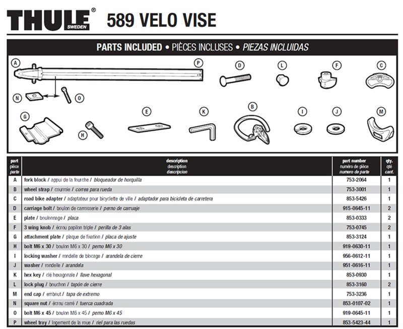 Replacement Parts For The Thule Velo Vise Model 589 Roof